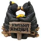 """7"""" Tall Romantic Black Bear Couple In Courtship By Wooden Lo"""