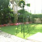 8Ft Tall  Windmill Ornamental Wind Wheel Green And Yellow Ga