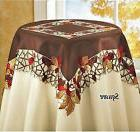 Thanksgving & Fall Decor Tablecloth Runner Lacy Brown Autumn