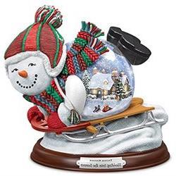 Thomas Kinkade Village Inside A Sledding Snowman Snowglobe b