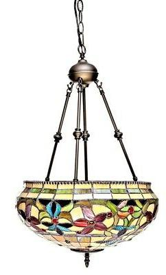 """Tiffany Style Floral Hanging Lamp Stained Glass 16"""" Shade Ha"""
