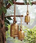 Set Of 3 Hanging Harmony Bells Wind Chimes Rustic Outdoor Ya