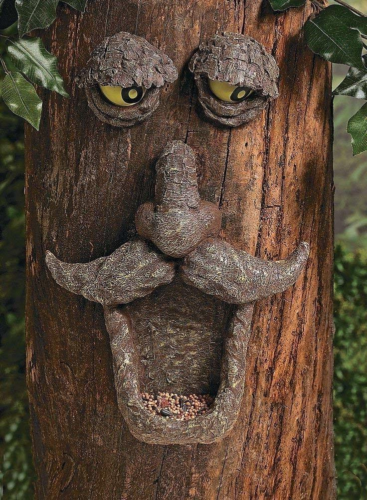 tree face bird feeder garden yard decor