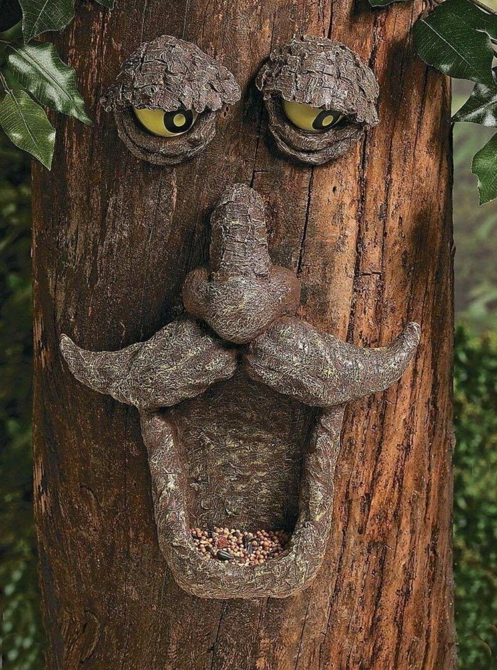 Tree Face Bird Feeder Garden Yard Decor Painted Eyes Glows i