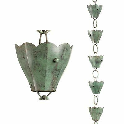 Good Directions 13 Cup Tulip Rain Chain - Blue Verde Copper