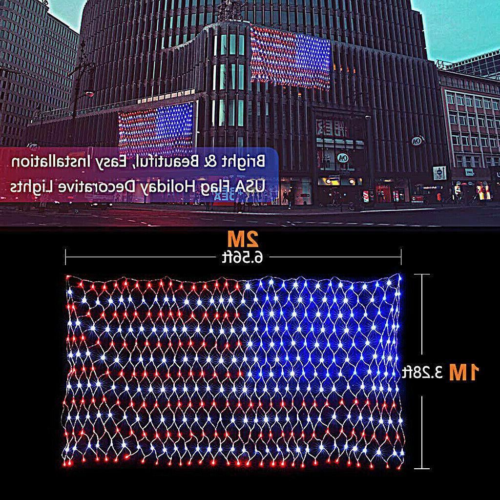 USA Flag Lights 420 LED American Flag Net String Light Hangi