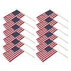 "USA US Stick Flag 12""X18"" 24in Wooden Stick w/ Spear Tip Mem"
