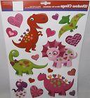 Valentine's Day Window Clings  COLORFUL DINOSAURS