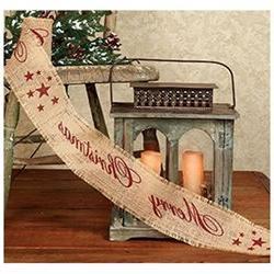 Vintage Merry Christmas Star Burlap Ribbon - 10-ft