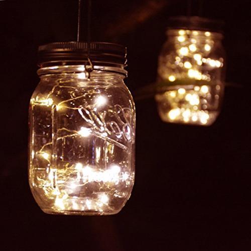 Homeleo Outdoor Mason Light Set,20 Warm White Fairy Bottle Solar Kit Party