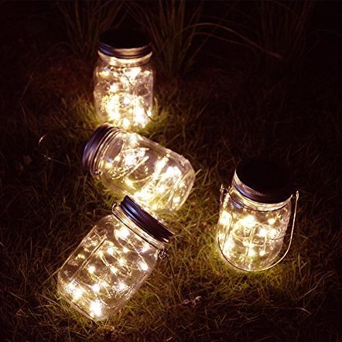Homeleo Pack Outdoor Solar Jar Light Set,20 LED Warm White Bottle Solar Lights for Garden Yard Party