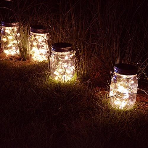 Homeleo Vintage Outdoor Light Set,20 White Firefly Bottle Solar for Yard Party Decor
