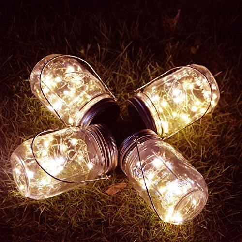 Homeleo 4 Outdoor Mason Jar Light Set,20 LED Warm White Bottle for Yard Party Decor