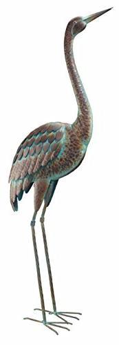 CHSGJY Vintage Standing Crane Coastal Metal Bird Statue Gard