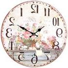 "Wall Clock 13"" Vintage Shabby Chic French Flowers Art Kitche"