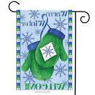 "Warm Winter Welcome Mittens Garden Flag Snowflakes 12.5"" x 1"