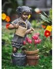 Water Fountain Girl Watering Flowers Outdoor Garden Electric