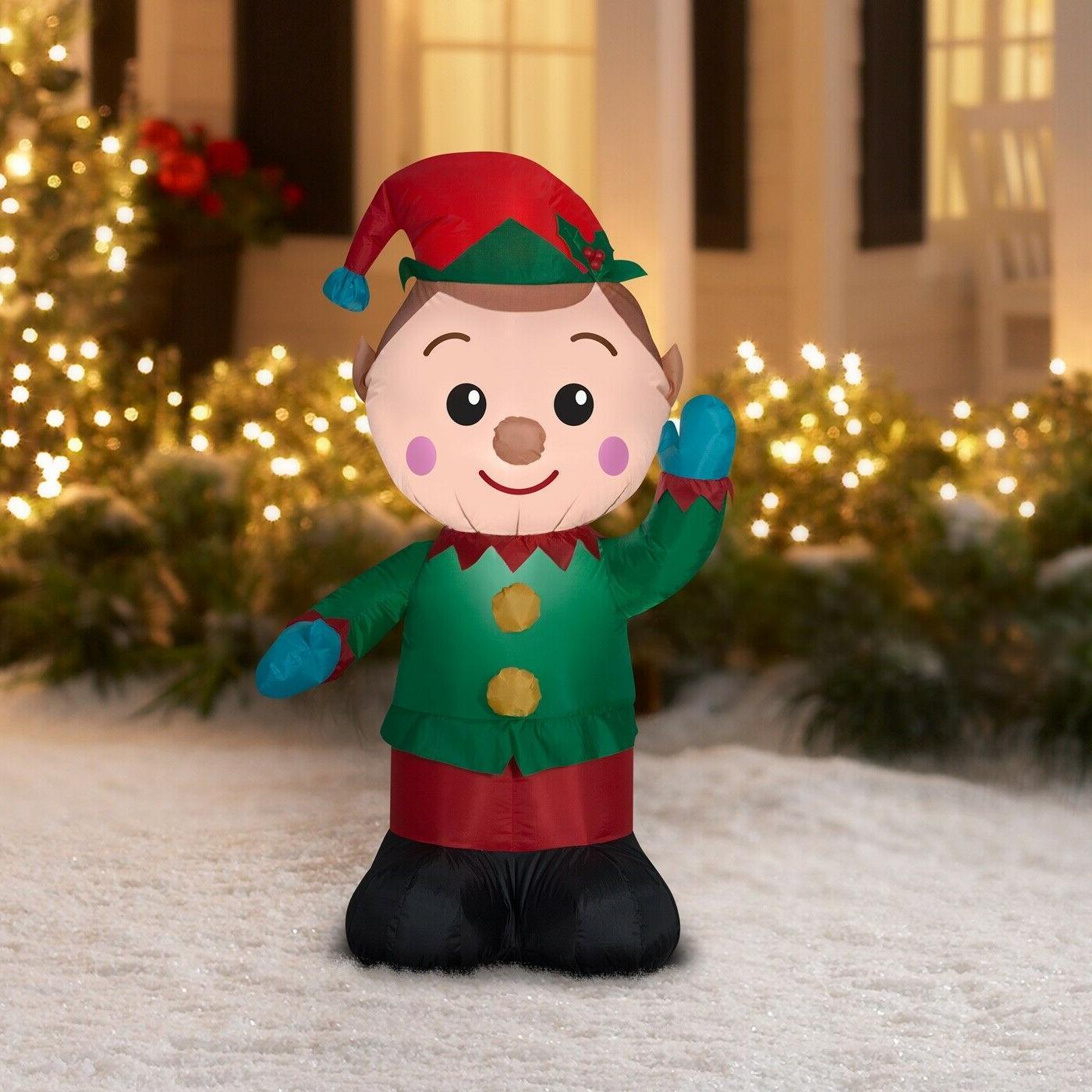 Holiday Time Waving Inflatable Elf 4 Feet Christmas Lights O