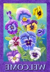 Welcome - Pansy - Garden Size 12 Inch X 18 Inch Decorative F