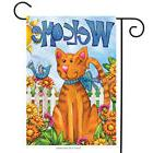 "Welcome Cat Spring Garden Flag Bird Floral Kitty 12.5"" x 18"""