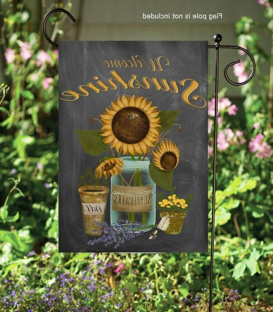 welcome sunshine garden flag sunflowers yard decor