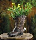 WESTERN SPURRED COWBOY BOOT PLANTER PATIO GARDEN FLORAL HOME