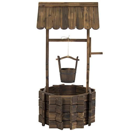 Best Choice Products Wooden Well Patio, Bucket