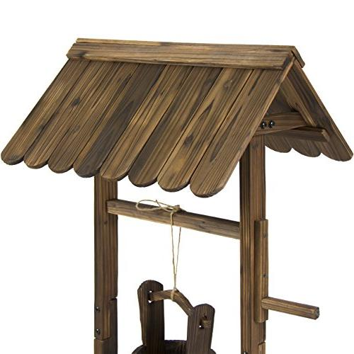 Best Choice Wooden Wishing Outdoor Home for Patio, Garden, w/Hanging Bucket