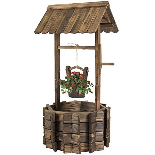 wooden wishing well bucket flower
