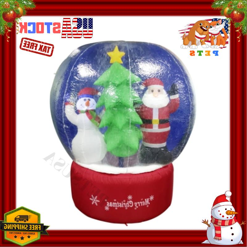 Xmas Inflatable LED Snow Globe with Merry Christmas Sign Out