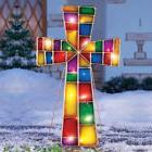 Outdoor Christmas Cross Stake Xmas Lighted Yard Decoration G