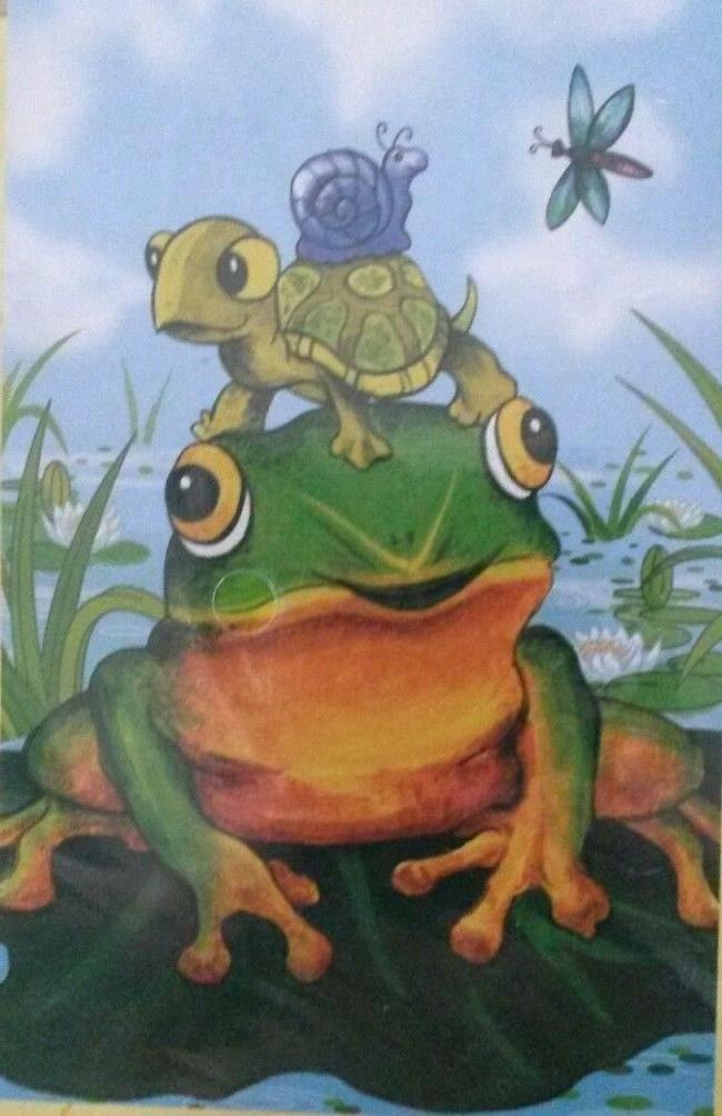 Evergreen Yard Frog Pile Dragonfly Pond 29x43