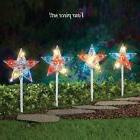 Yard Lighted Patriotic Star Path Stakes Garden Decoration US