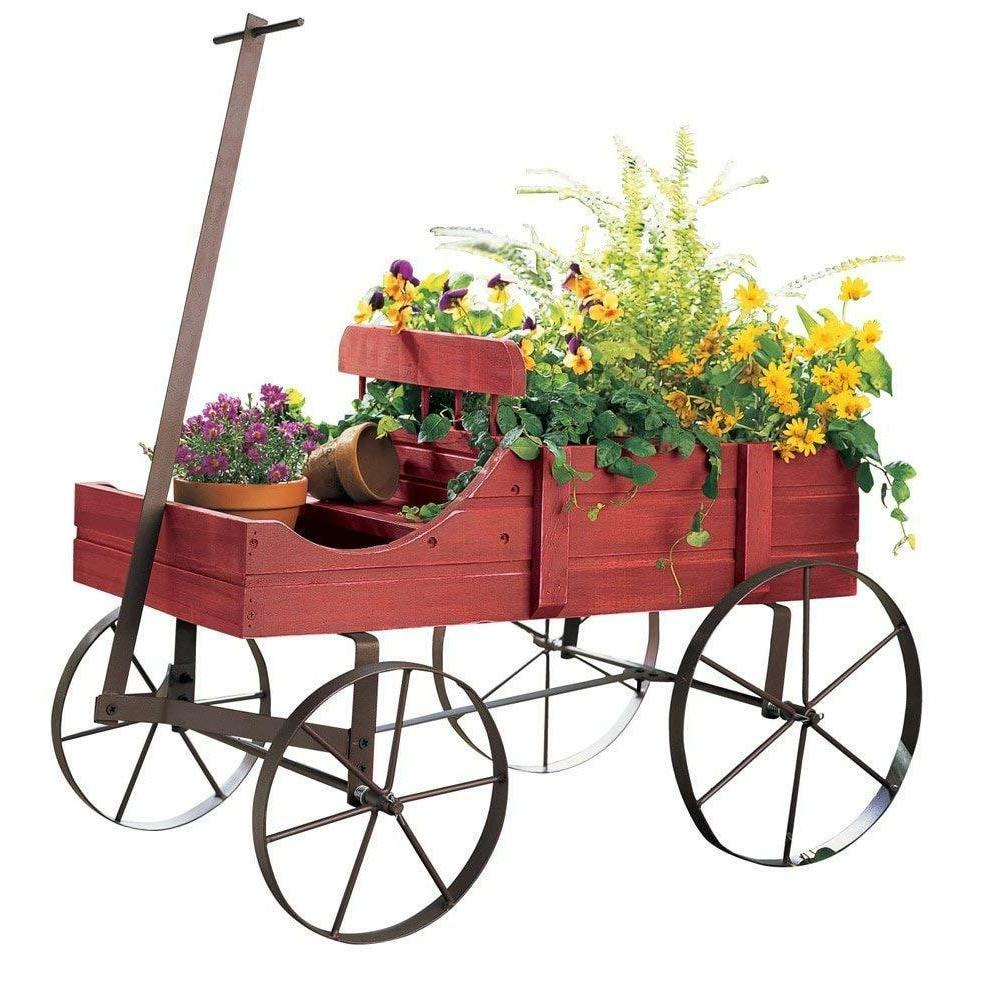 Yard Ornaments Wagon Planter Wheel Outdoor Backyard Statues