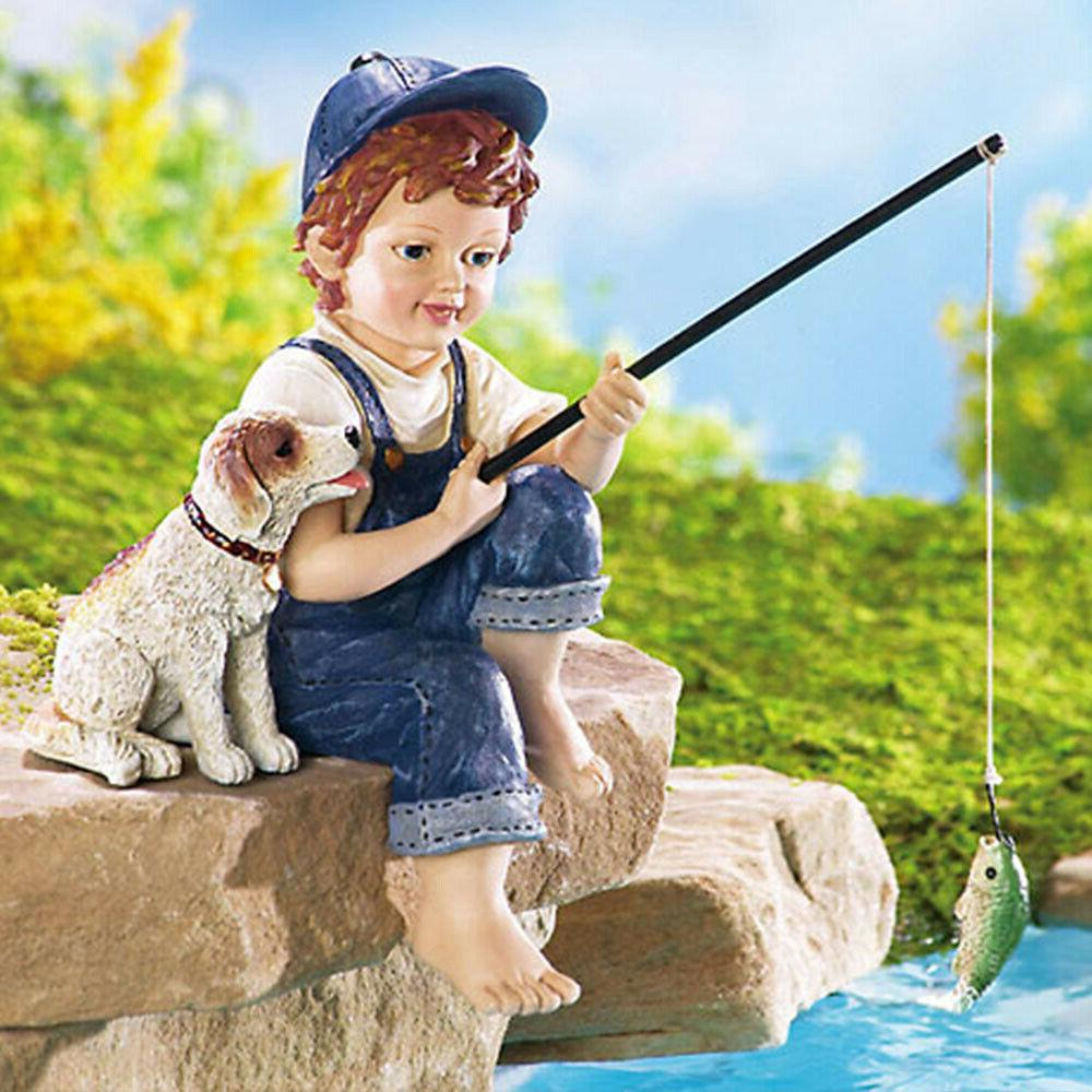 Yard Pond Statue Decoration Outdoor Boy Figurines Path Dog L