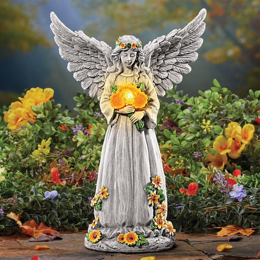 Outdoor Angel Statue Yard Solar Lighted Figure Garden Decor