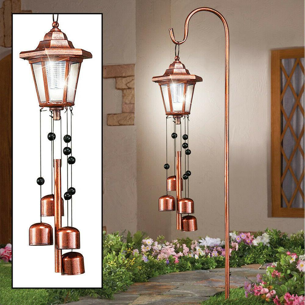 Outdoor Solar Lighted Lantern Yard Wind Chime Decoration Gar