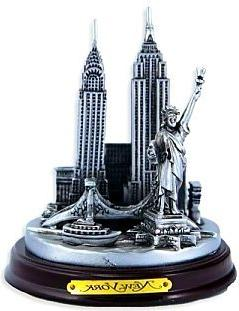 New York 3-D Round Pewter Model