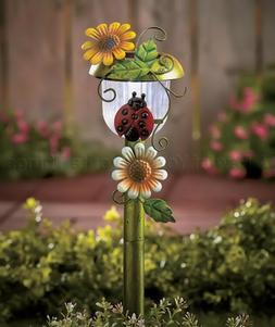 Ladybug Flower Solar Path Light Stake Statue Lawn Yard Outdo