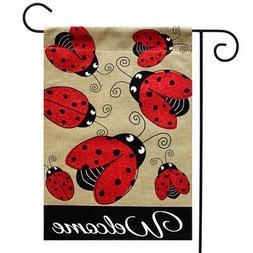 "Ladybug Gathering Burlap Spring Garden Flag Welcome 12.5"" x"