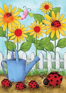 "Ladybug Parade Spring Garden Flag Floral Watering Can 12.5"""