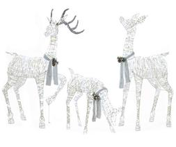 """Large 3-Piece LED Lighted Holiday Deer Family - 60"""" Buck, 52"""