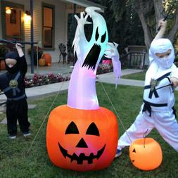 Large Halloween Inflatable Pumpkin Ghost Outdoor Yard Hallow