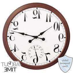 Large Outdoor Yard Wall Clock Thermometer Patio Porch Brown