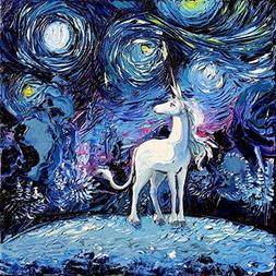 Unicorn Art Fantasy Starry Night Fine art print van Gogh Nev