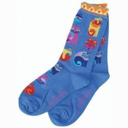 Laurel Burch Socks-Feline Festival -Blue