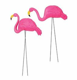 2pc Large Bright Pink Flamingo Lawn Ornament Garden Yard Sta