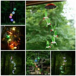 led color changing power solar wind chimes