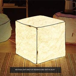 Bedsure LED Cube Lights Stool Inflatable Foot Stool LED Chai