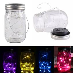 LED Fairy Lights Solar Garden Yard Decor Mason Jar Lid Weddi